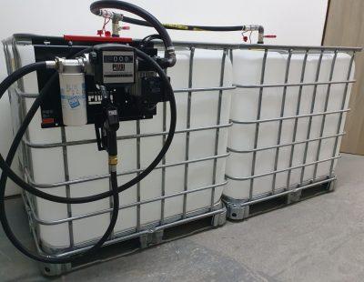 Zostava 2 ks prepojených nádrží IBC 1000 litr.+ výdajná zostava Panther 60l/min - 230V